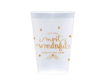 Plastic Cup | Most Wonderful Time of the Year (gold)