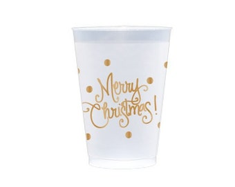 Plastic Cups | Merry Christmas with Dots (gold)
