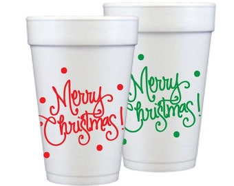 Foam Cups   Merry Christmas! (red and green assorted)