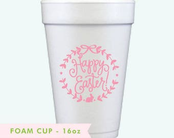 Happy Easter! | Foam Cups (pink ink)