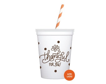 Kid's Cups | Thankful for You (with lids + straws!)