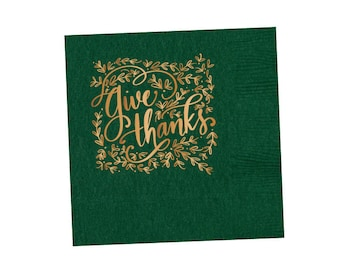 Napkins | Give Thanks (hunter green)