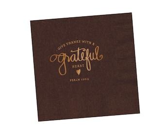 Napkins | Grateful Heart (brown)