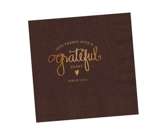 Napkins | Grateful Heart (brown)
