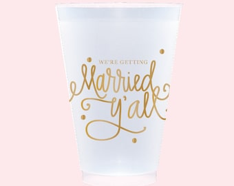 Married Y'all! Cups (reusable) - Qty 12