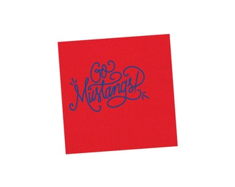 GO MUSTANGS | Napkins (red and blue)