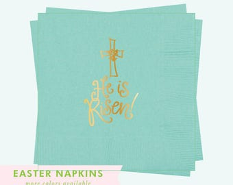 Napkins | He is Risen (robins egg blue / gold)