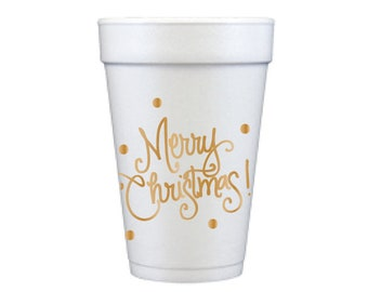 Foam Cups | Merry Christmas (gold)