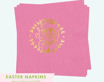 Happy Easter! | Napkins (bunny pink + gold foil)