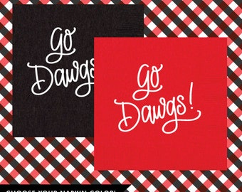 Go Dawgs! Napkins (Qty 25) - choose Black or Red!