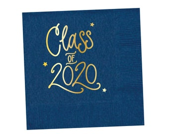 2020 Graduation | Napkins (navy + gold foil) - In-Stock!