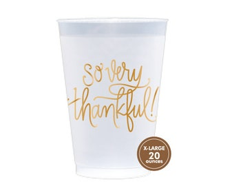 Reusable Cup (Large 20 oz!) | So Very Thankful (gold)