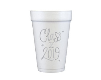 Graduation Foam Cups - SILVER INK (in-stock!)