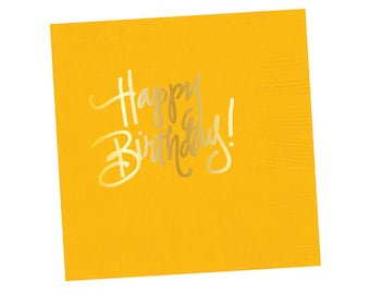 Napkins | Happy Birthday - Yellow