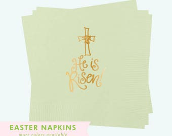 Napkins | He is Risen (mint / gold)