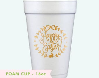 Foam Cups | Happy Easter (gold)