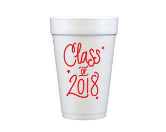Graduation Foam Cups - RED INK (in-stock!)