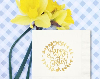Napkins | Happy Easter (white / gold)