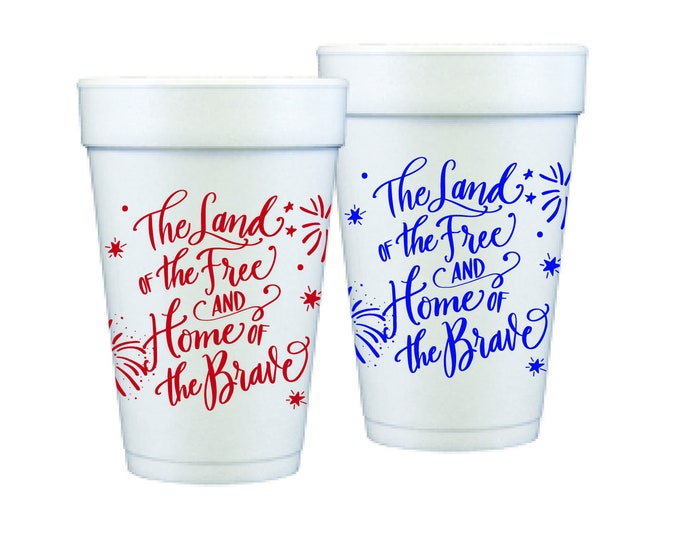 Featured listing image: Foam Cups | 4th of July (red & blue)