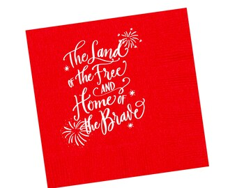 Napkins   4th of July (red)