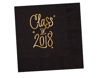 Graduation Napkins | BLACK & GOLD (in-stock)