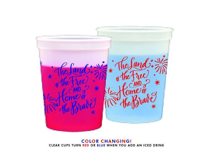 Featured listing image: Color Changing Cups | 4th of July (red and blue)