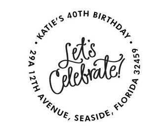 Address Stamp - Let's Celebrate!