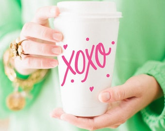To-Go Coffee Cups | XOXO (pink)