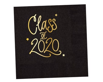 2020 Graduation | Napkins (black + gold foil) - In-Stock!