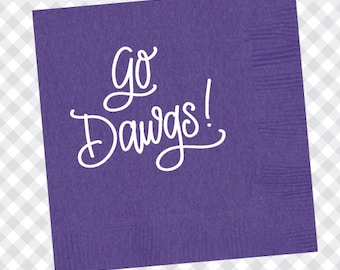 Go Dawgs! Napkins (Qty 25) - Purple
