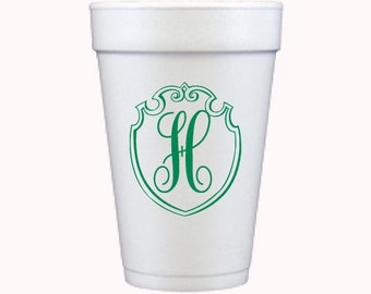 Foam Cups | Monogram Shield (custom order)