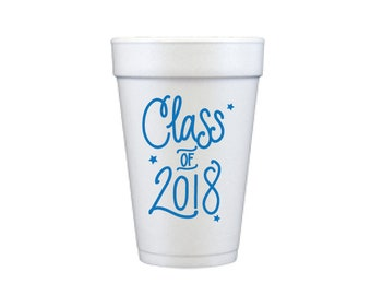 Graduation Foam Cups - BLUE INK (in-stock!)