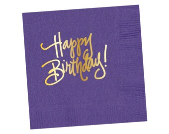 Napkins | Happy Birthday - Purple