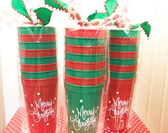 Merry Christmas Polka Dot Cups (set of 8 cups)