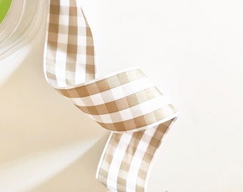 Tan Gingham Ribbon (by the yard)