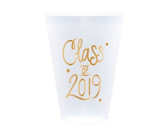 Graduation Reusable Cups - GOLD INK (in-stock!)