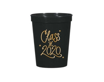 Class of 2020 | Stadium-Style Cups  (16 oz.) - BLACK & GOLD (in-stock!)