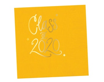 2020 Graduation | Napkins (yellow + gold foil) - In-Stock!