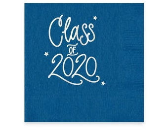 2020 Graduation | Napkins (Blue + silver foil) - In-Stock!