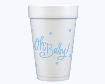 Foam Cups   Oh Baby (blue)