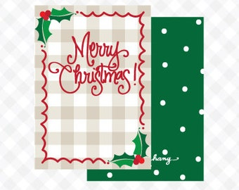 Gingham & Holly Gift Tag (Qty 5)
