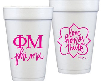 Phi Mu Foam Double Sided Foam Cups   (Qty 12)