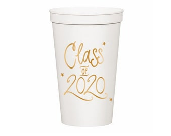 Class of 2020 | Stadium-Style Cups (22 oz. - Large!) - WHITE & GOLD (in-stock!)