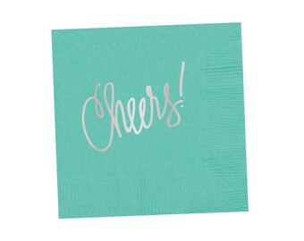 Napkins | Cheers (robins egg blue with silver foil)