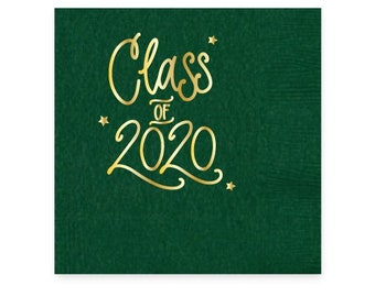2020 Graduation | Napkins (Hunter green + gold foil) - In-Stock!
