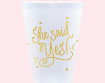 She Said Yes! Cups (reusable) - Qty 12