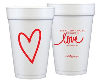 Foam Cups | Love Scripture (red)