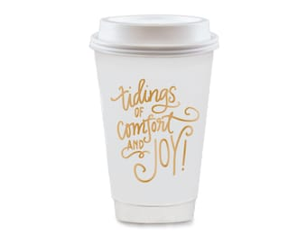 To-Go Coffee Cups | Comfort & Joy (gold)