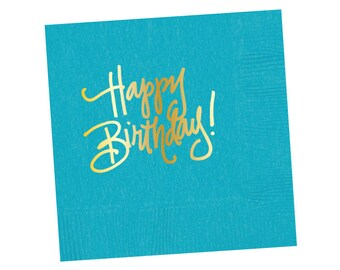 Napkins | Happy Birthday - Bright Blue