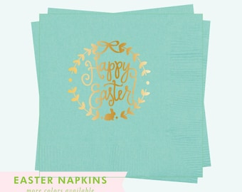 Napkins | Happy Easter (robin's egg / gold)